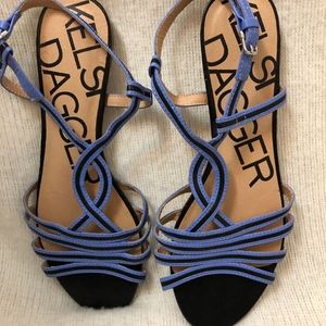 Kelsi Dagger Flat Blue & Black Sandals 8 1/2